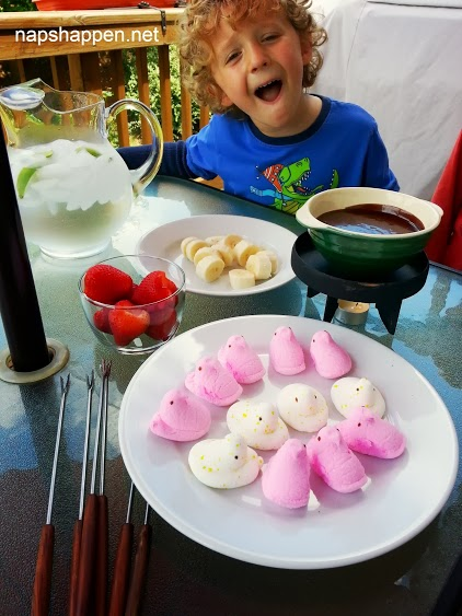 fondue with peeps and fruit