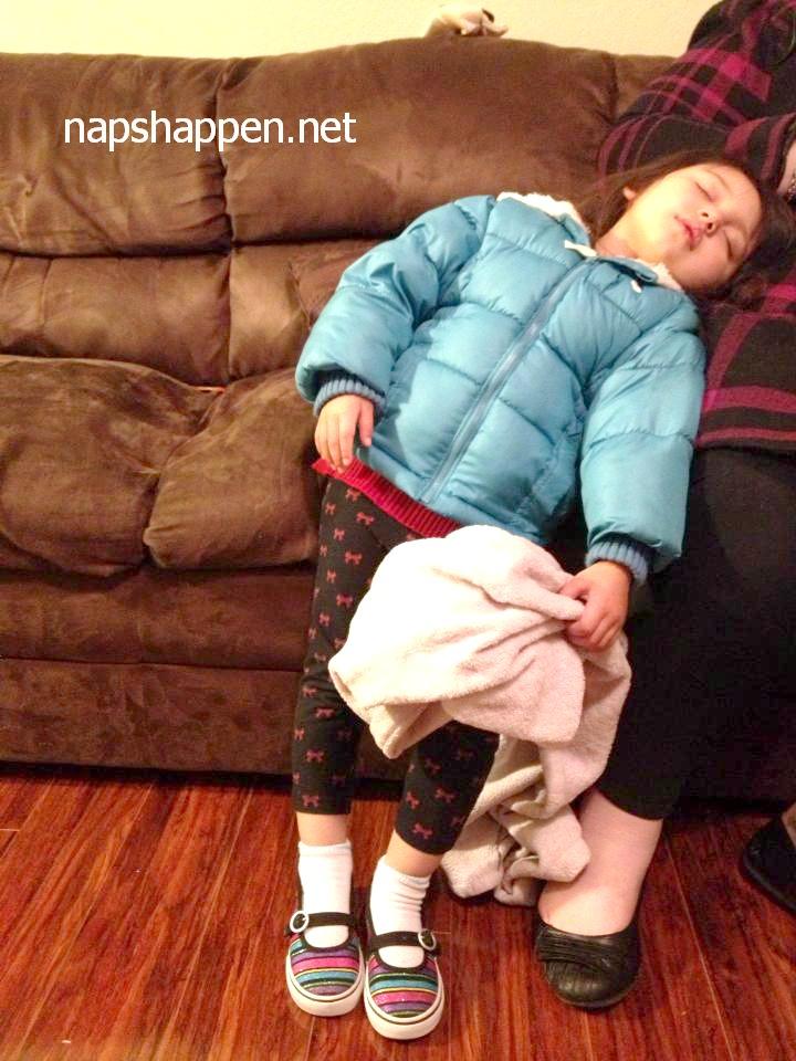 child sleeps standing up
