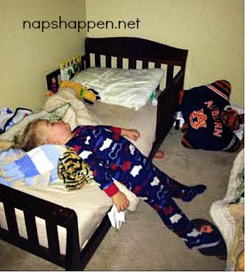 child asleep in footies
